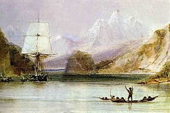 Conrad Martens, A painting of the HMS Beagle at Tierra Del Fuego, c.1830