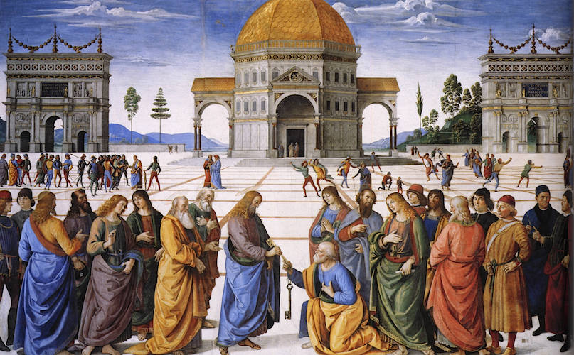 Perugino, Christ Giving the Keys of the Kingdom to St. Peter, Sistine Chapel, 1481-83, fresco, 10 feet 10 inches x 18 feet (Vatican, Rome) (view large public domain image)