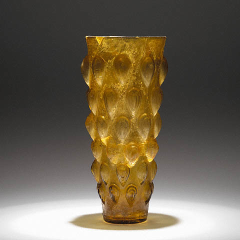 lotus bud beaker roman eastern 1st century ce moldblown glass 8 38 inches the j paul getty museum
