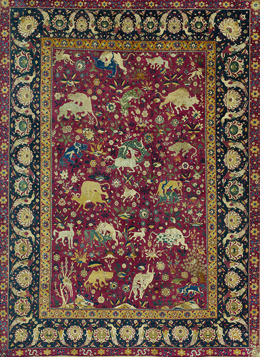 "Carpet (Safavid), 16th century, Iran, probably Kashan (depicts animals, some invented and of Chinese origin), silk, 94-7/8 x 70"" (Metropolitan Museum of Art)"