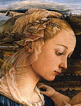 Detail, Fra Filippo Lippi, Madonna and Child with Two Angels, ca. 1455 - 1466, tempera on wood (Galleria degli Uffizi, Florence); (photo: public domain)