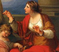"Cornelia (detail), Angelica Kauffmann, Mother of the Gracchi, Pointing to her Children as Her Treasures, c. 1785, oil on canvas, 40 x 50"" (Virginia Museum of Fine Arts)"