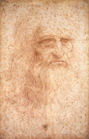 Leonardo da Vinci, Portrait of a man in red chalk (self-portrait), c. 1512, red chalk on paper (Biblioteca Reale, Turin)