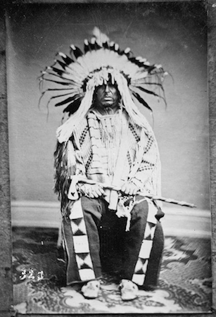 Antonio Zeno Shindler, Portrait of Deloria or Ceca Hinna (Chief with the Big War Bonnet) or Delaurier (Half-Breed) in Native Dress with Headdress and Holding Pipe Tomahawk, 1867 (Dakota Yankton/Hunkpapa), photograph (BAE GN 03547 06594600, National Anthropological Archives, Smithsonian Institution)