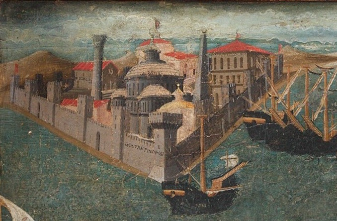Constantinople (detail of front panel), Marco del Buono Giamberti and Apollonio di Giovanni di Tomaso, Cassone with the Conquest of Trebizond, 1460s, tempera, gold and silver on wood, 9 1/2 x 77 x 32 7/8 inches / 100.3 x 195.6 x 83.5 cm (The Metropolitan Museum of Art)