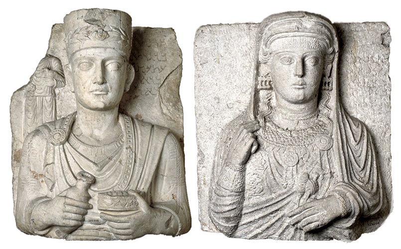 Left: Palmyrene Funerary Relief Bust of a Priest, c. 50-150 C.E., limestone, 63 x 52.5 cm / Right: Palmyrene Funerary Bust of Tamma, c. 50-150 C.E., limestone, 50 cm high © Trustees of the British Museum
