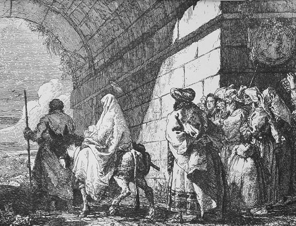 Domenico Tiepolo, Departure from Jerusalem from the series Picturesque Ideas on the Flight Into Egypt, 1753, etching