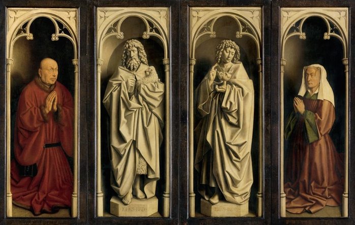 From left to write, Jodocus Vijd, St. John the Baptist, St. John the Evangelist, and Vijd's wife, Elizabeth Borluut (detail), Jan van Eyck, Ghent Altarpiece, completed 1432, oil on wood, 11 feet 5 inches x 15 feet 1 inch (open), Saint Bavo Cathedral, Ghent, Belgium (photo: Closer to Van Eyck)