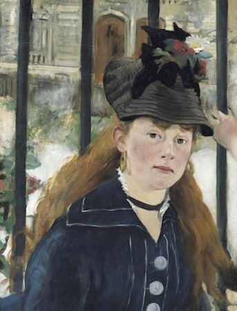 Female figure (detail), Édouard Manet, The Railway, 1872-3, oil on canvas, 111.5 x 93.3cm (National Gallery of Art, Washington, D.C.)