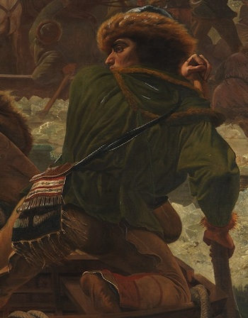 Native American at back of boat (detail), Emanuel Leutze, Washington Crossing the Delaware, 1851, oil on canvas, 378.5 x 647.7 cm (Metropolitan Museum of Art)