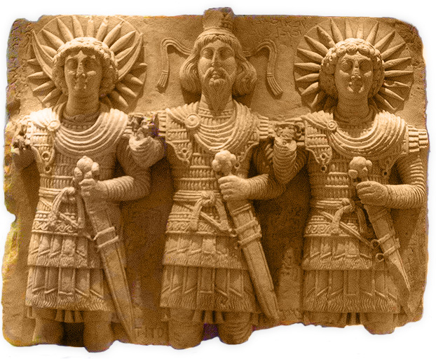 Palmyra's divine triad: Baalshamin, with the Moon god Aglibol on his right and the Sun-god Yarhibol at left, discovered at Bir Wereb, near Palmyra, 60 cm high (Louvre, Paris)