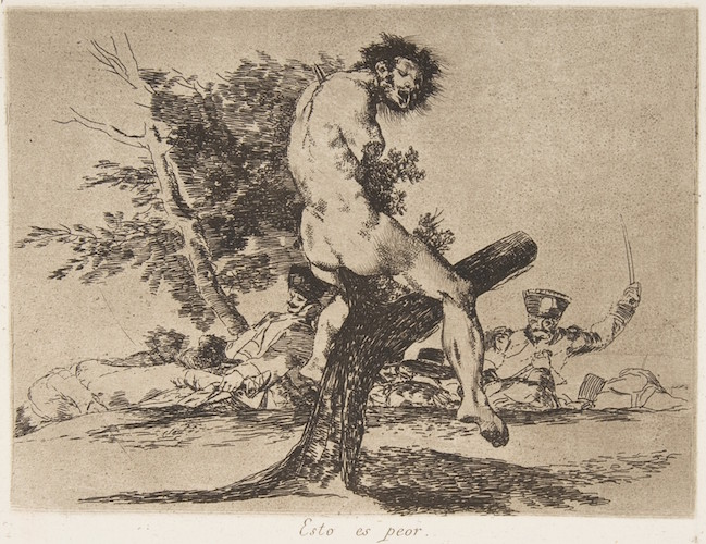 Goya, This is worse (Esto es peor), plate 37 from The Disasters of War (Los Desastres de La Guerra), 1810, etching, lavish and drypoint, plate: 15.3 x 20.2 cm (The Metropolitan Museum of Art)