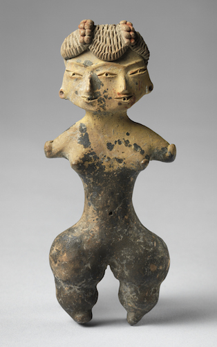 Double-faced female figure, early formative period, Tlatilco, 1500–1200 B.C.E., ceramic with traces of pigment, 9.5 cm. high (Princeton University Art Museum)