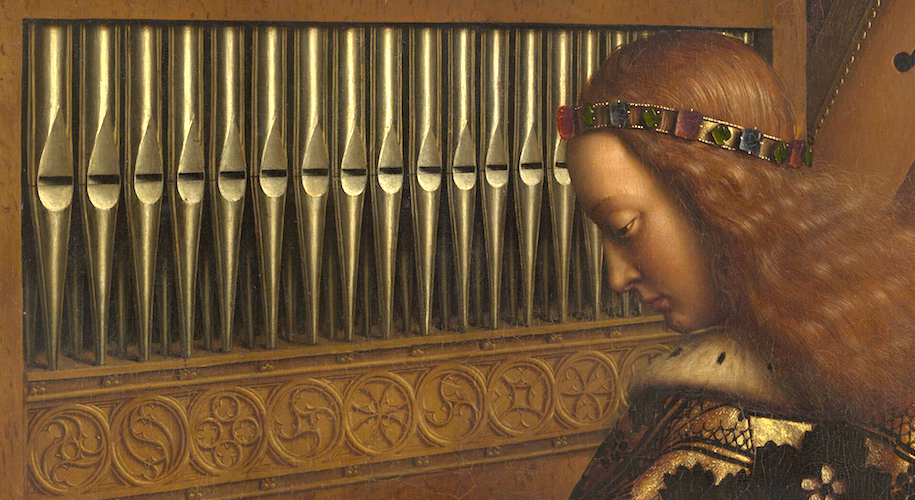 Angel playing an organ (detail), Adoration of the Mystic Lamb, Jan van Eyck, Ghent Altarpiece, completed 1432, oil on wood, 11 feet 5 inches x 15 feet 1 inch (open), Saint Bavo Cathedral, Ghent, Belgium (photo: Closer to Van Eyck)