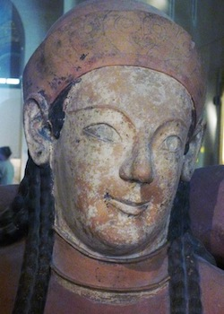 Detail, Sarcophagus of the Spouses, Etruscan, c. 520-510 B.C.E., painted terracotta (Musée du Louvre)