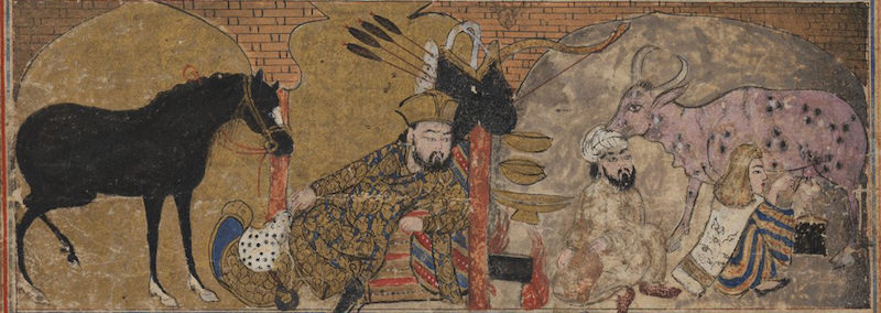 "Bahram Gur looking toward peasant and woman on the right (detail), ""Bahram Gur in a Peasant's House,"" folio from the so-called ""Second Small Shahnama,"" early 14th c., ink, opaque watercolors, gold on paper, 6 5/16 x 5 11/16"", Ilkhanid Dynasty (Brooklyn Museum of Art)"
