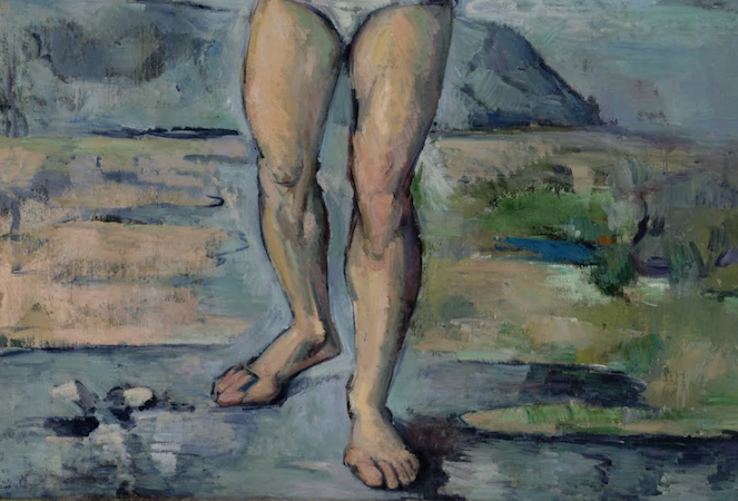 Paul Cézanne, detail The Bather, 1885-86, oil on canvas, 127 x 96.8 cm (MoMA, New York)