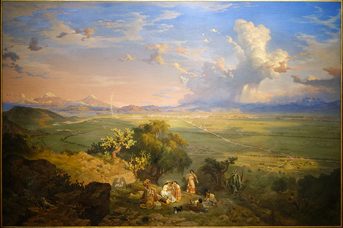 Eugene Landesio, The Valley of Mexico from the hill in Tenayo, 1870, oil on canvas, 150.5 x 213 cm (Museo Nacional de Arte, INBA, Mexico City)