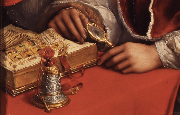 Detail: Raphael, Portrait of Pope Leo X with Cardinals Giulio de'Medici and Luigi de'Rossi