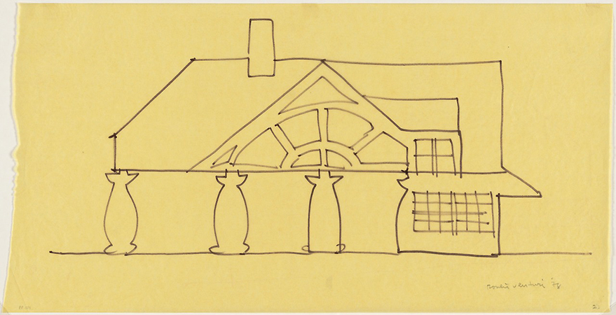 Venturi and Rauch, Robert Venturi, John Rauch, Denise Scott Brown House, Delaware, Preliminary study of west elevation, 1978, felt-tipped pen on tracing paper, 30.5 x 59.7 cm © 2015 Robert Venturi and Denise Scott Brown (The Museum of Modern Art, New York)