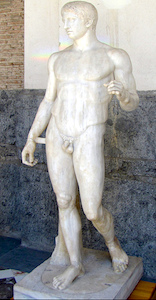 "Doryphoros (Spear Bearer) or Canon. Roman copy after an original by the Greek sculptor Polykleitos from c. 450-440 B.C.E., marble, 6'6"" (Archaeological Museum, Naples)."