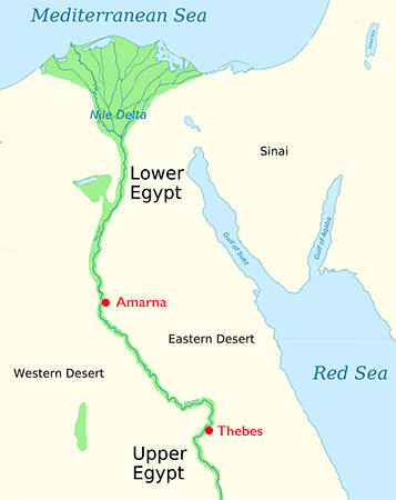 Map of Ancient Egypt (modified), original by Jeff Dahl