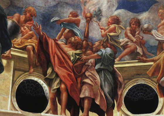 "The apostles with wingless angels (detail), Correggio, Assumption of the Virgin, 1526-30, fresco, 35' 10"" x 37' 11"" (Parma Cathedral, Parma)"