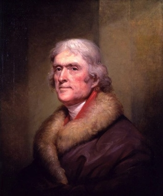 Rembrandt Peale, Thomas Jefferson, 1805, oil on linen, 28 x 23 1/2 in (New-York Historical Society)