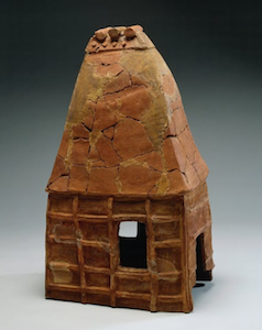 House-shaped Haniwa, 6th century, clay (Museum of the Sakitama Ancient Burial Mounds)