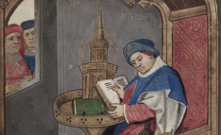Roman de la Rose, probably 2nd half of 15th century, Yale, Bodleian Library, MS Douce 195, f. 1r