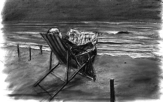 William Kentridge, Drawing from Tide Table (Soho in Deck Chair), 2003, charcoal on paper, 81.28 x 121.92 cm (courtesy Marian Goodman Gallery, NYC, © William Kentridge)