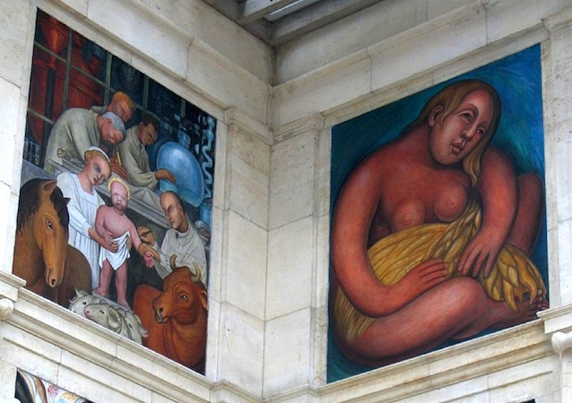 Figures representing the diverse workforce on the northeast corner (detail), Diego Rivera, Detroit Industry murals, 1932-33, twenty-seven fresco panels at the Detroit Institute of Arts (photo: dfb, CC BY-NC-SA 2.0)