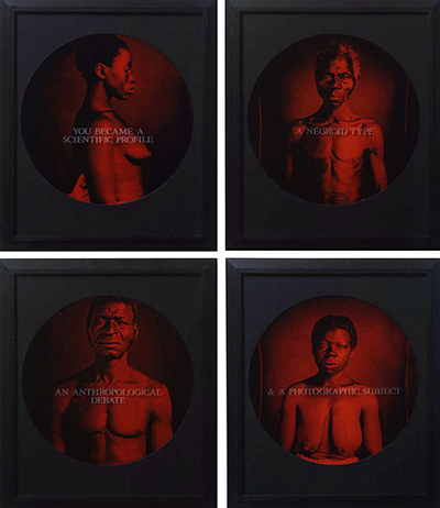 Carrie Mae Weems, A Negroid Type / You Became a Scientific Profile / An Anthropological Debate / & A Photographic Subject, 1995-96, color photographs in four parts © Carrie Mae Weems