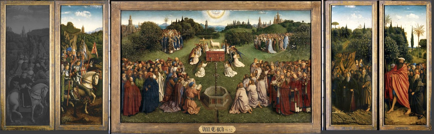 Saint, prophets and others approach the mystic lamb (detail), Jan van Eyck, Ghent Altarpiece, completed 1432, oil on wood, 11 feet 5 inches x 15 feet 1 inch (open), Saint Bavo Cathedral, Ghent, Belgium (photo: Closer to Van Eyck)