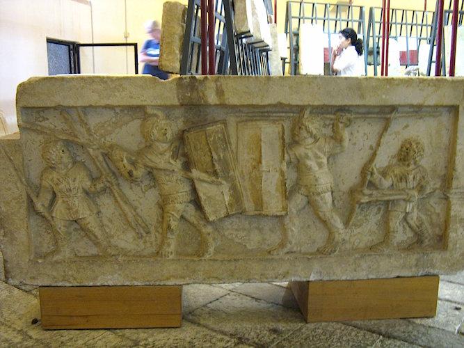 Gladatorial Combat, Amiternum, c. 50-1 B.C.E. (Museum, Aquila) (photo: Erin Taylor, CC BY-NC-ND 2.0)
