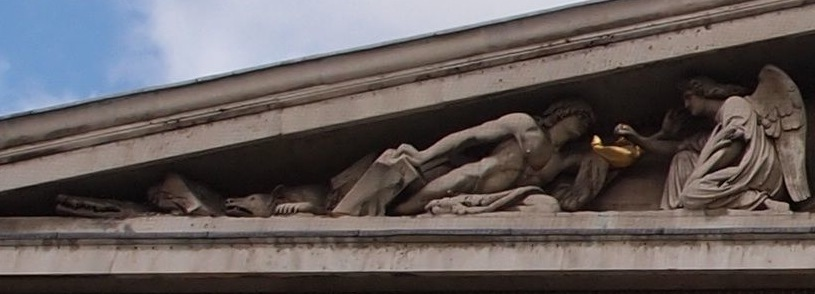 The emergence of early man (detail), Richard Westmacott, The Rise of Civilisation, Pediment of British Museum, 1845-51 (London)