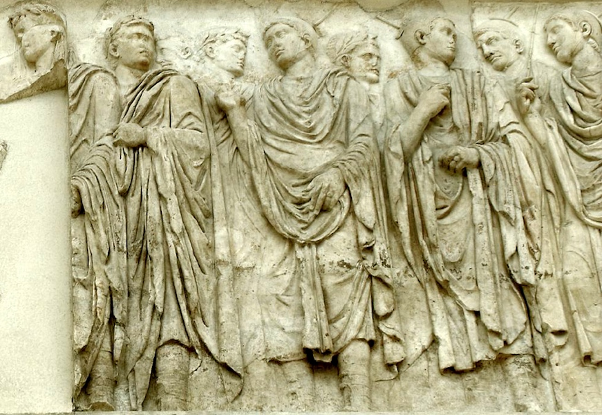 Augustus (far left) and members of the imperial household, Ara Pacis Augustae (Altar of Augustan Peace) 9 B.C.E. (Ara Pacis Museum, Rome) (source)