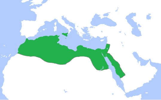Map of the Fatimid Caliphate at its peak, c. 969
