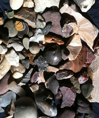 Group of stones collected in Egypt showing the range of colors and textures available to the ancient artists.