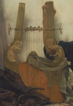 Lyre (detail), Sir Lawrence Alma-Tadema, A Reading from Homer, 1885, oil on canvas, 1836.67 x 918.72 cm (Philadelphia Museum of Art)
