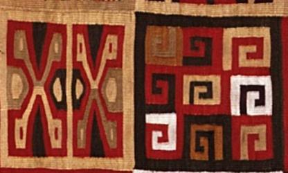 Detail, All-T'oqapu Tunic, Inka, 1450–1540, camelid fiber and cotton, 90.2 x 77.15 cm (Dumbarton Oaks, Washington D.C.)