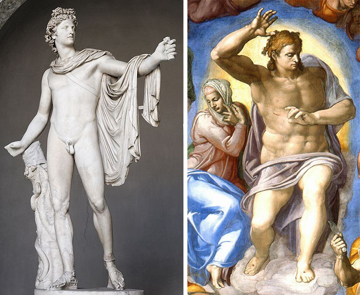 Left: Apollo Belvedere, Right: Christ (detail), Michelangelo, Last Judgment, Sistine Chape, fresco, 1534-1541 (Vatican City, Rome)