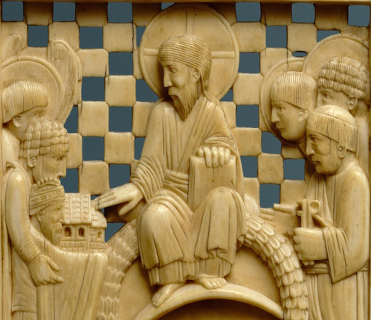 Detail, Otto I presenting the Cathedral of Magdeburg, 962–968, Ottonian, from the Cathedral of Magdeburg, probably made in Milan, northern Italy (The Metropolitan Museum of Art). On this ivory, Otto presents a symbolic model of the church to Christ for his blessing. As a humble servant, Otto is depicted smaller than the company of patron saints.
