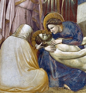 Mary cradling Christ's body (detail), Giotto, Lamentation, c. 1305, fresco (Arena Chapel, Padua)