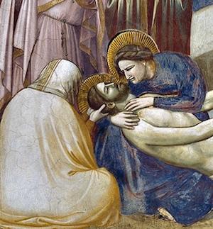Mary cradling Christ's body (detail), Giotto, Lamentation, c. 1305, fresco (Arena Chapel, Padua)