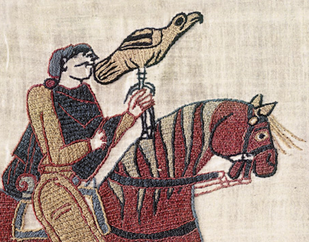 Falconer (detail), Bayeux Tapestry, c. 1070, embroidered wool on linen, 20 inches high (Bayeux Museum)
