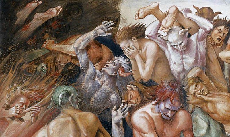 Naked men and women screaming while being attacked by demons (detail), Luca Signorelli, The Damned Cast into Hell, 1499-1504, fresco, 23' wide (San Brizio chapel, Orvieto Cathedral, Orvieto, Italy)