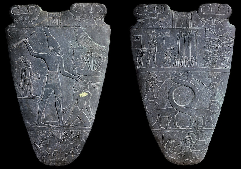 "Palette of King Narmer, from Hierakonpolis, Egypt, Predynastic, c. 3000-2920 B.C.E., slate, 2' 1"" high (Egyptian Museum, Cairo)"