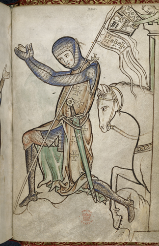 "Knight, Psalter, with litany, prayers and Easter tables (The ""Westminster Psalter""), c. 1200, f. 220 (British Library)"