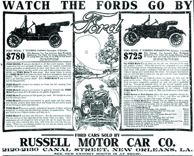 An Advertisement Entitled Watch The Fords Go By Features Drawings Of Two Ford Automobiles Prices Are Listed At 7 8 0 A N D 780 And